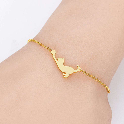 Cute Minimalist Playing Ball Cat Bracelet - That Woof Store