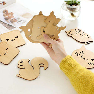 Adorable Wooden Coaster Cute Cat Dog Shape Coffee Tea Cup Mat - That Woof Store