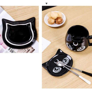 Black Cat Mug, Spoon, and Tray Combo | Awesome Cat Lady Gifts - That Woof Store