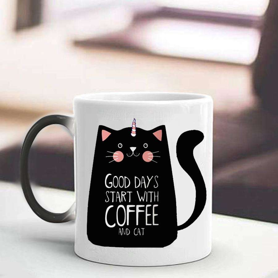Novelty Cat Lady Gifts | 330ml Cute Cat Magic Mug Temperature Color Changing Chameleon Mugs Heat Sensitive Cup - That Woof Store