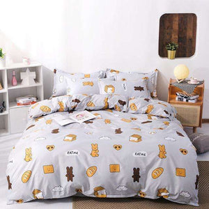 Quick Shipping |  Cute Cat Kitty Duvet Cover Pillow Case Bed Sheet Set - That Woof Store
