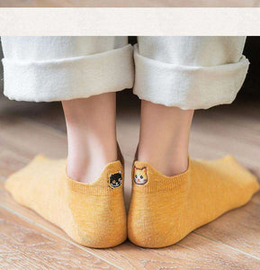 Adorable Natural Cotton Kitty Socks for Women | 5 Pairs - That Woof Store