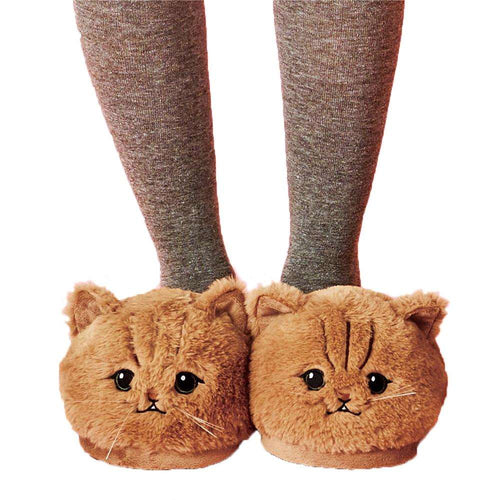 Cute Plush Kitten Soft Cat Slippers - That Woof Store