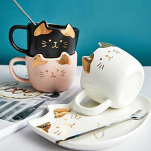 Load image into Gallery viewer, Ceramic Coffee Cup Set Cartoon Cat Tea Cup with Saucer Spoon for Cat Lovers - That Woof Store