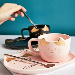 Ceramic Coffee Cup Set Cartoon Cat Tea Cup with Saucer Spoon for Cat Lovers - That Woof Store