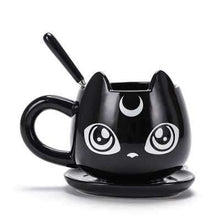 Load image into Gallery viewer, Black Cat Mug, Spoon, and Tray Combo | Awesome Cat Lady Gifts - That Woof Store