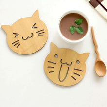 Load image into Gallery viewer, Adorable Wooden Coaster Cute Cat Dog Shape Coffee Tea Cup Mat - That Woof Store