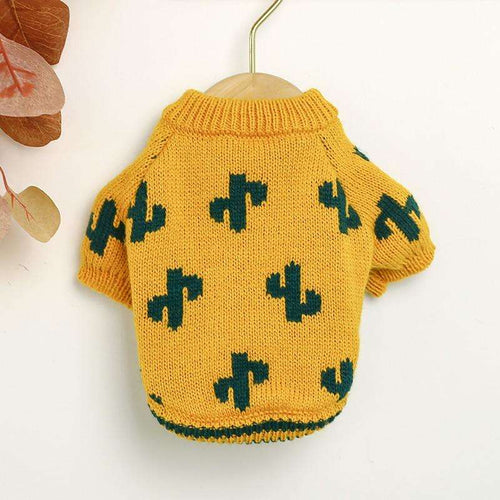 Turmeric Colored Cactus Dog Sweater for Small Dog and Pet Cat - That Woof Store