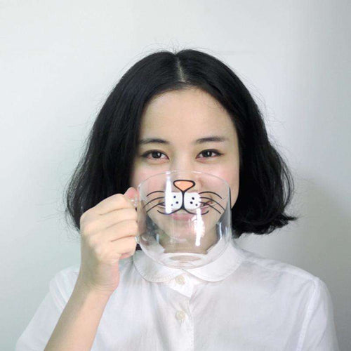 Creative Cat Mug! Kitty Face Glass Mug for Cat Ladies - That Woof Store