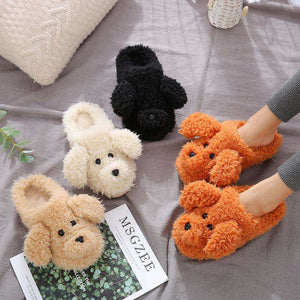 Faux Fur Dog Slippers New | High Quality Winter Warm Plush Slides - That Woof Store