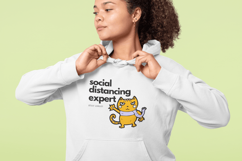 Social Distancing 2020 Cat Unisex Hoodie - That Woof Store