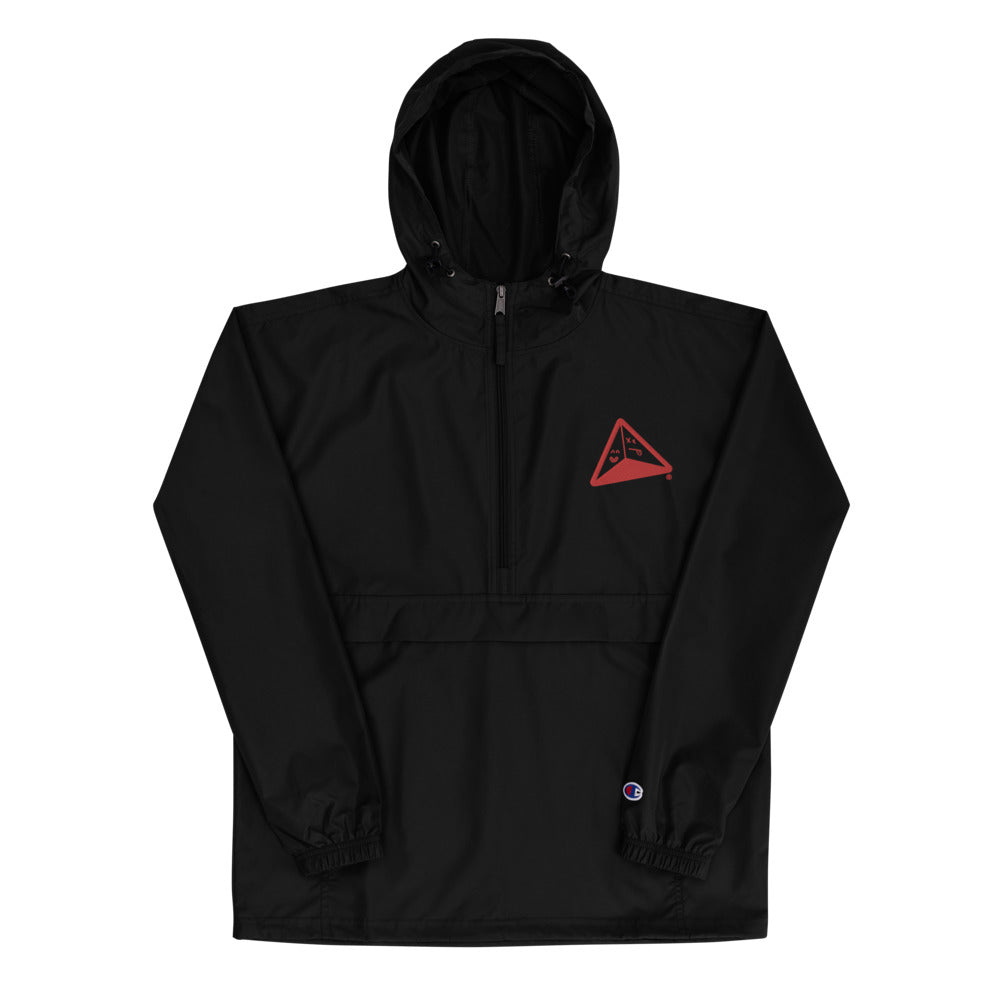 ®the pyramid schemes Logo Embroidered Champion Packable Jacket