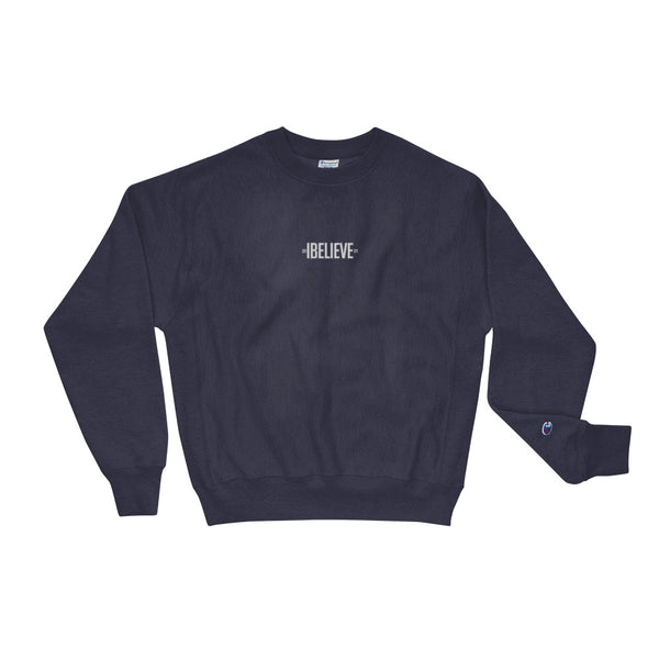 "®the pyramid schemes Embroidered ""IBelieve"" Champion Sweatshirt"