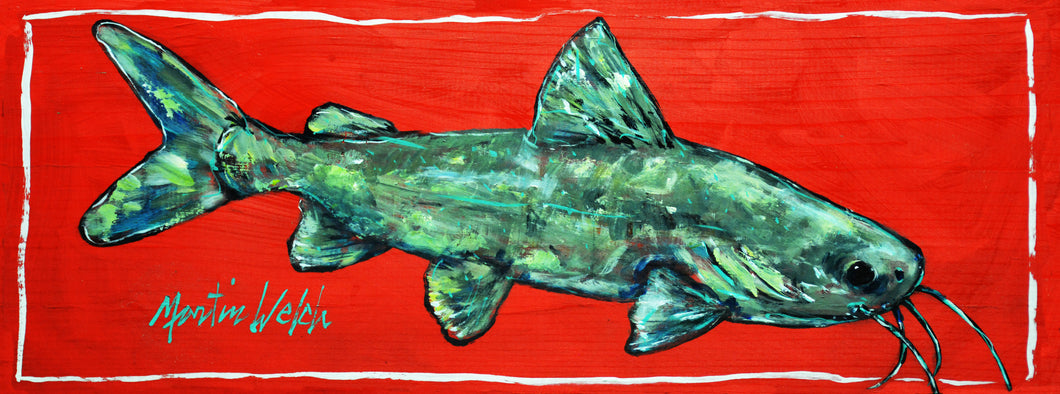 Catfish On Red Board 9.5x24 Original Painting of a Southern Catfish