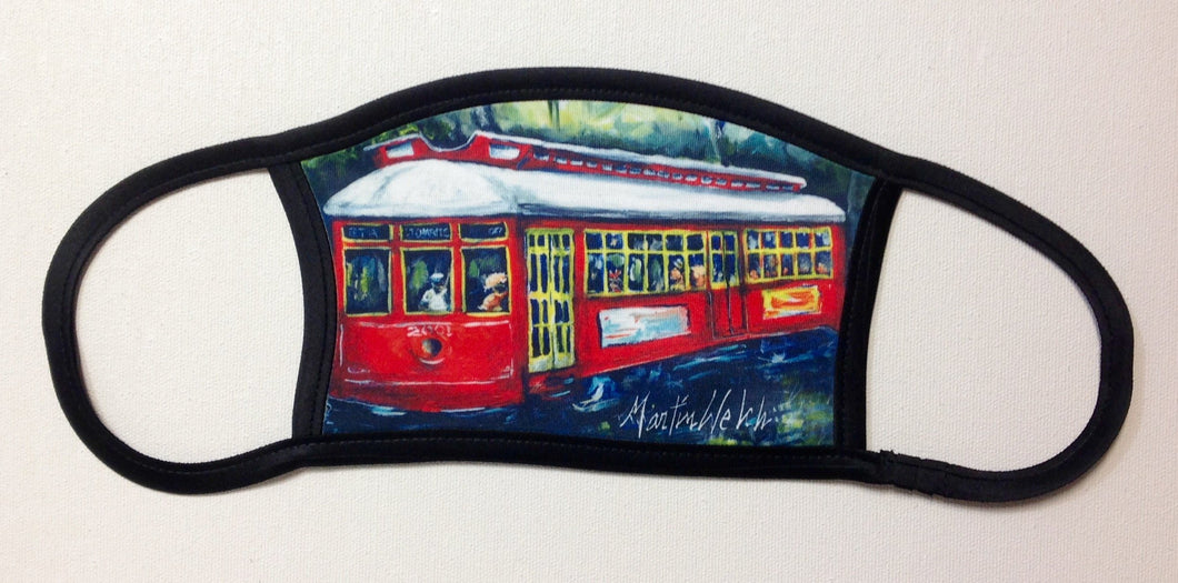 Little Red New Orleans Street Car Face Mask