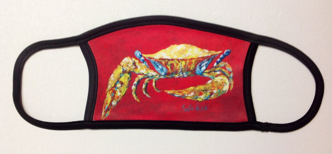 Blue Crab on Red Face Mask