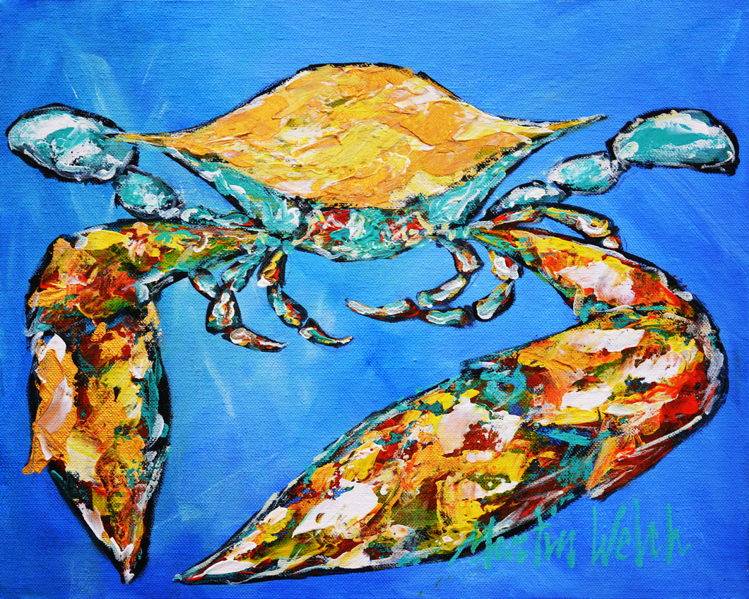 Jumping Free 12x12 Original crab painting