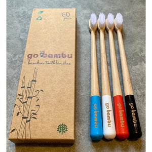 Bamboo Toothbrush - Pack of 4 - Soft, Medium and Charcoal