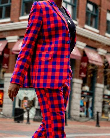 SHUKA BLAZER - RED & BLUE PLAID (2 buttons)