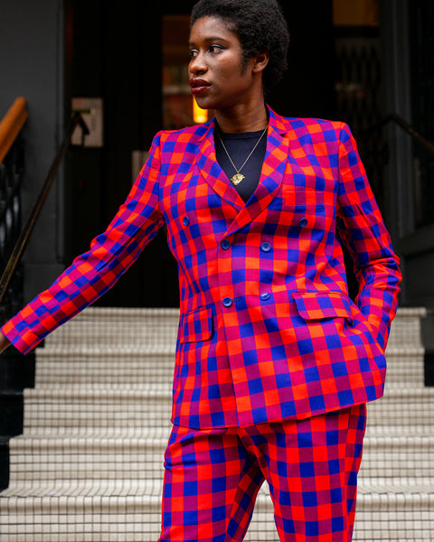 SHUKA BLAZER - RED & BLUE PLAID (6 buttons)