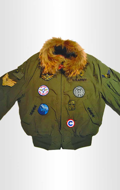 Front view of CdJ Furbomb jacket with multiple military-style embellishments and fur collar lining.