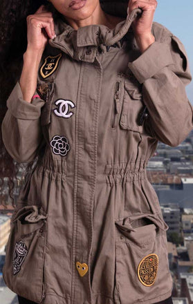 Load image into Gallery viewer, Female models collar feature on CdJ Special Order jacket.