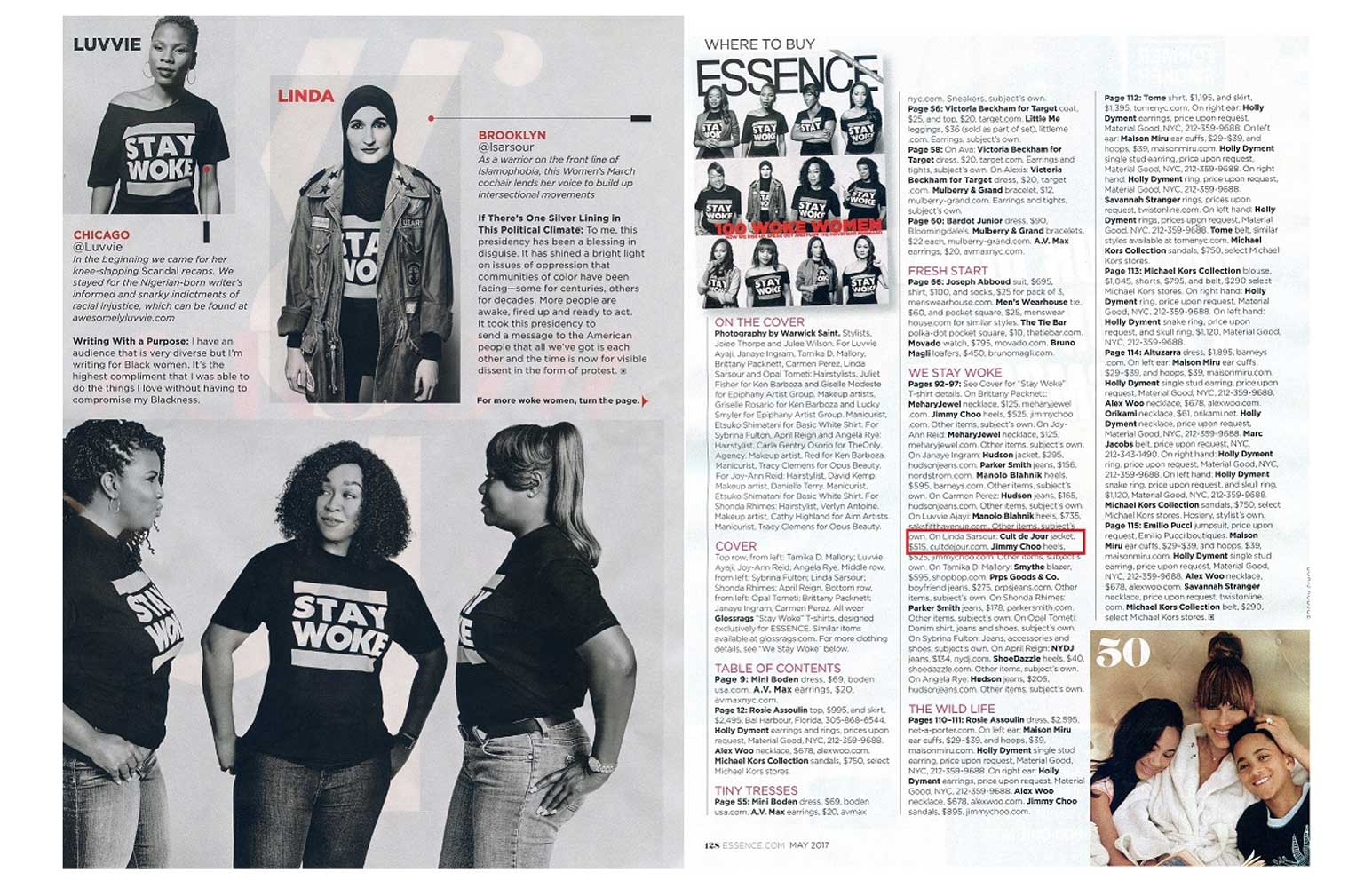 Essence Magazine page spread with photo of Cult de Jour jacket and credit to Cult de Jour. Text reads: On Linda Samsour: Cult de Jour jacket.