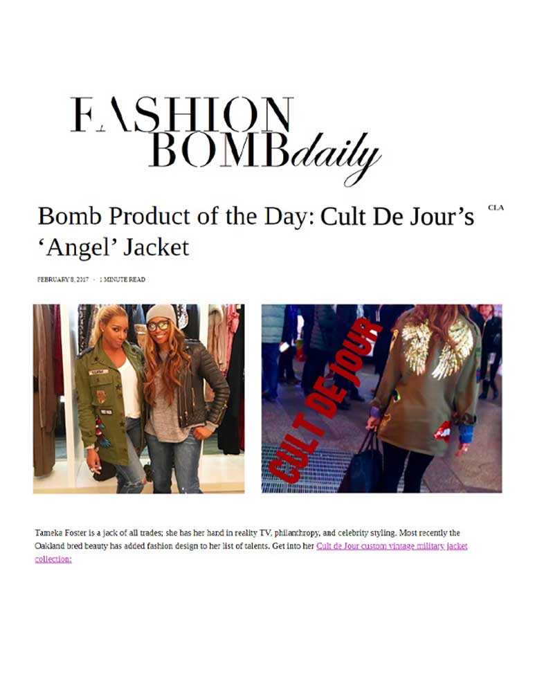 Fashion Bomb Daily article with photos of Cult de Jour jacket on NeNe Leakes. Text reads: Bomb Product of the Day: Cult de Jour's 'Angel' Jacket.