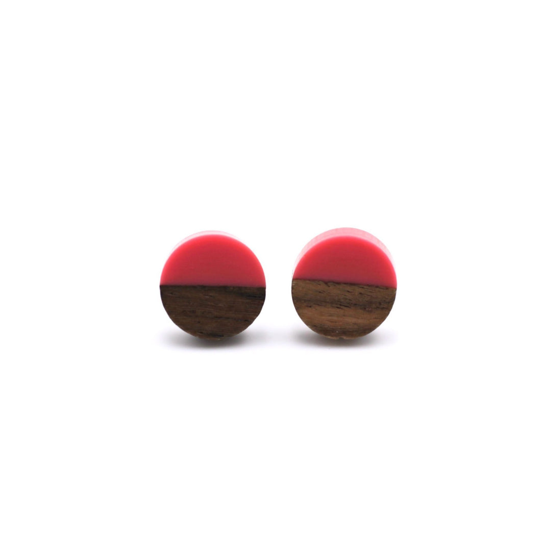 Hot Pink Resin & Wood Stud Earrings