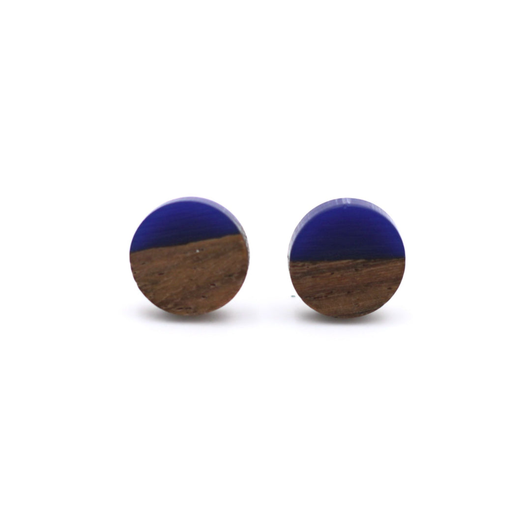 Cobalt Resin & Wood Stud Earrings