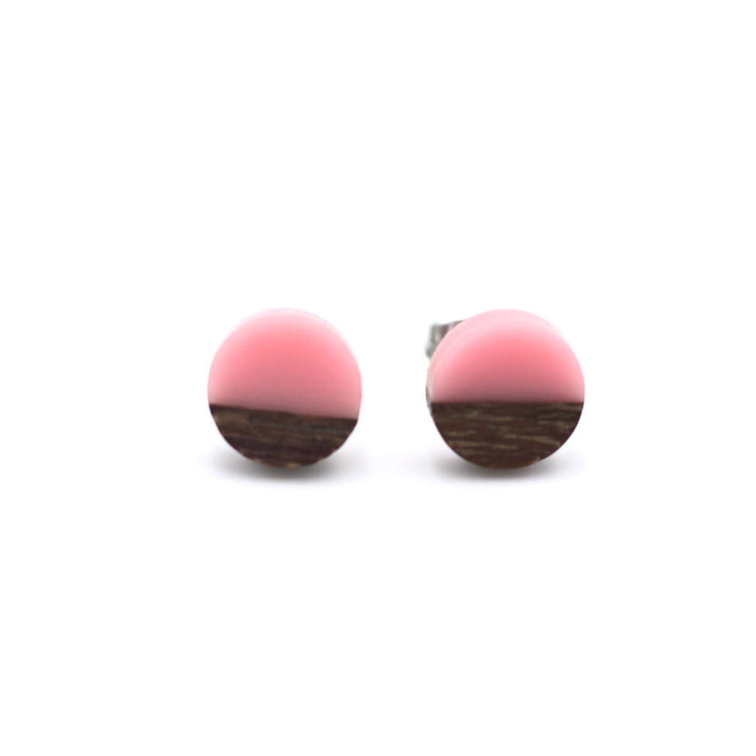 Light Pink Resin & Wood Stud Earrings