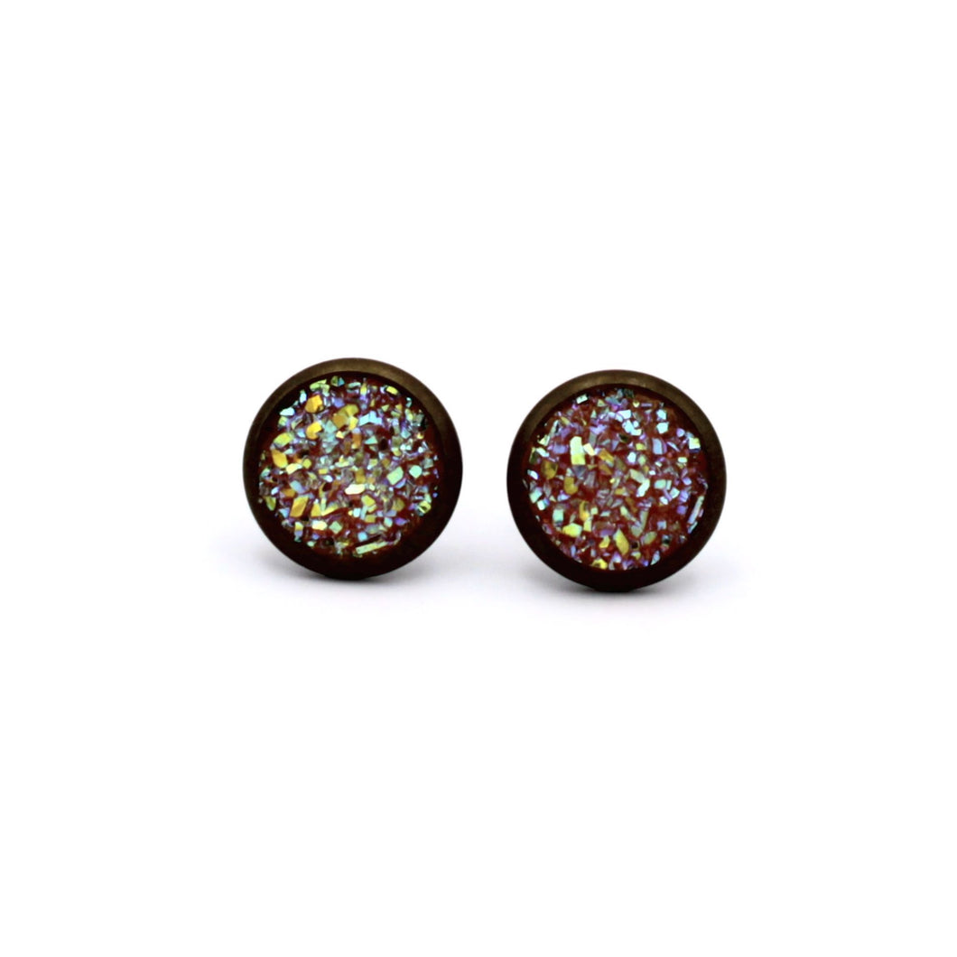 Orange Druzy Stud Earrings