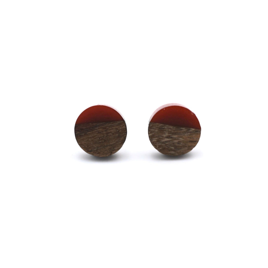 Red Resin & Wood Stud Earrings