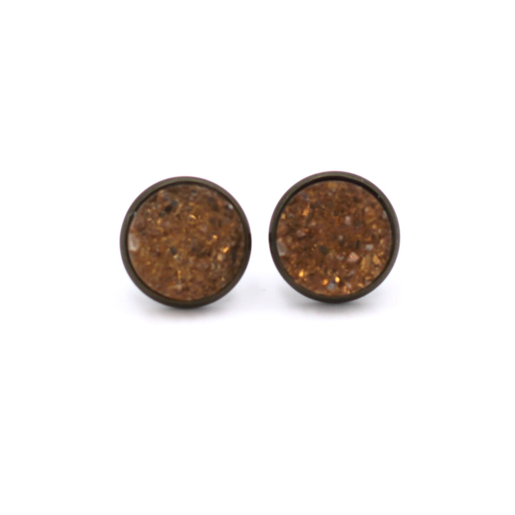 Amber Chunky Druzy Stud Earrings