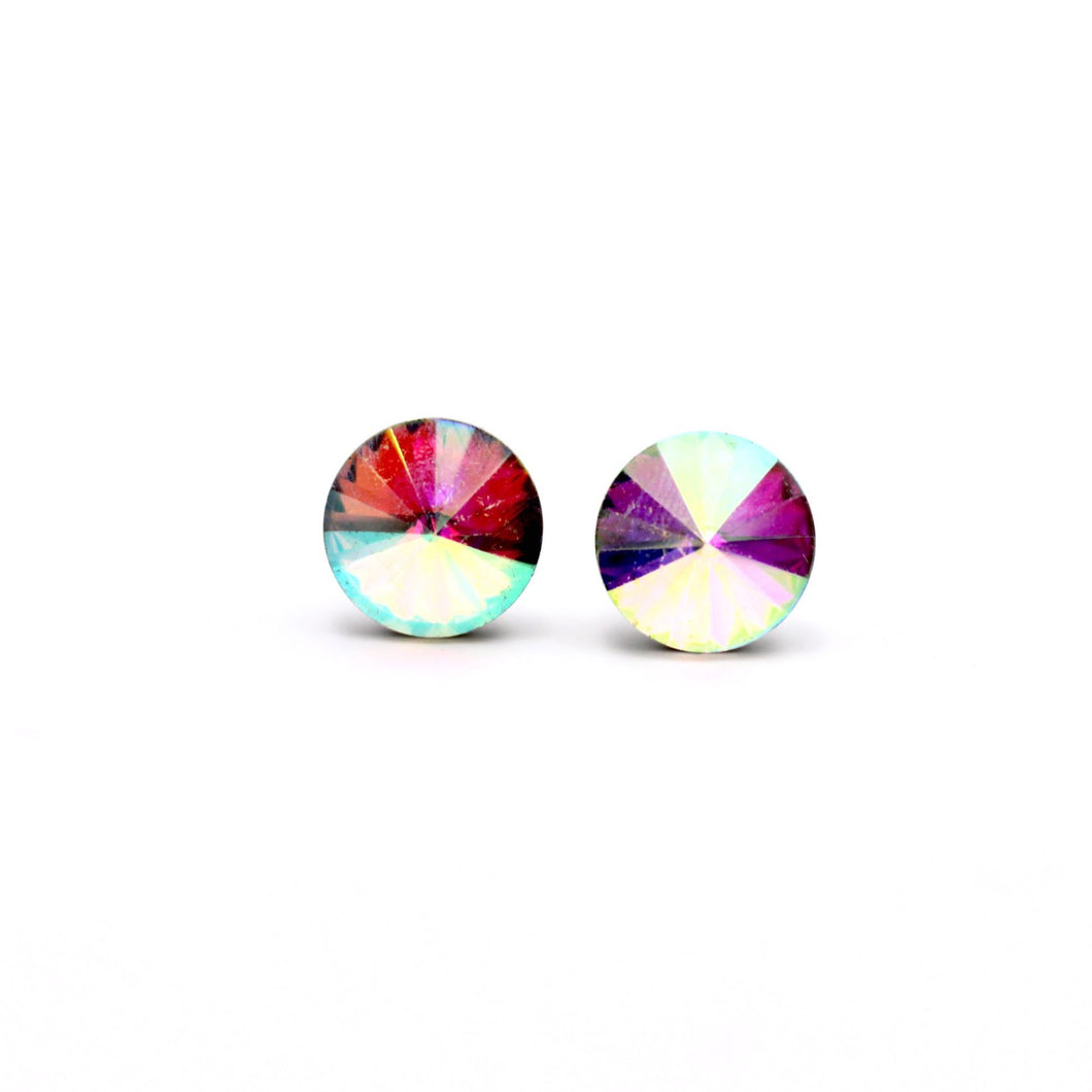 Clear Rivoli Stud Earrings
