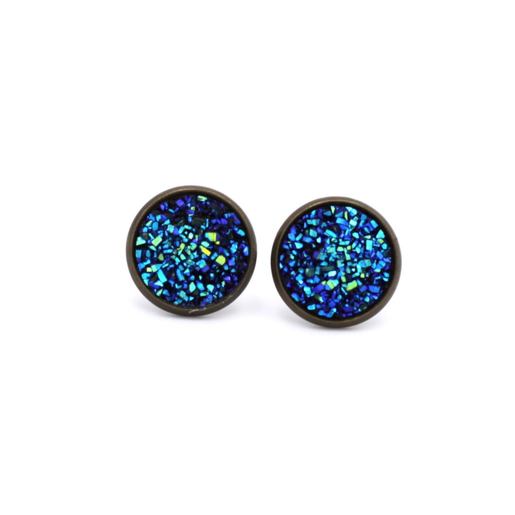Dark Blue Druzy Stud Earrings