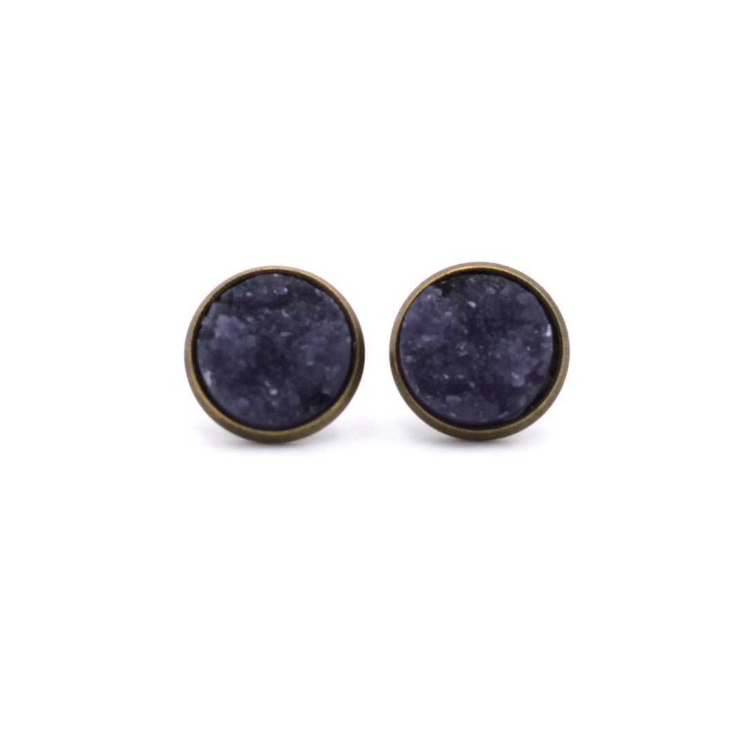 Dark Purple Chunky Druzy Stud Earrings