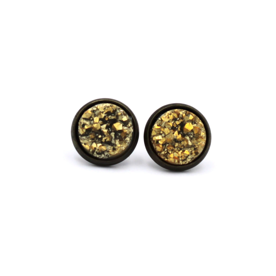 Gold Chunky Druzy Stud Earrings