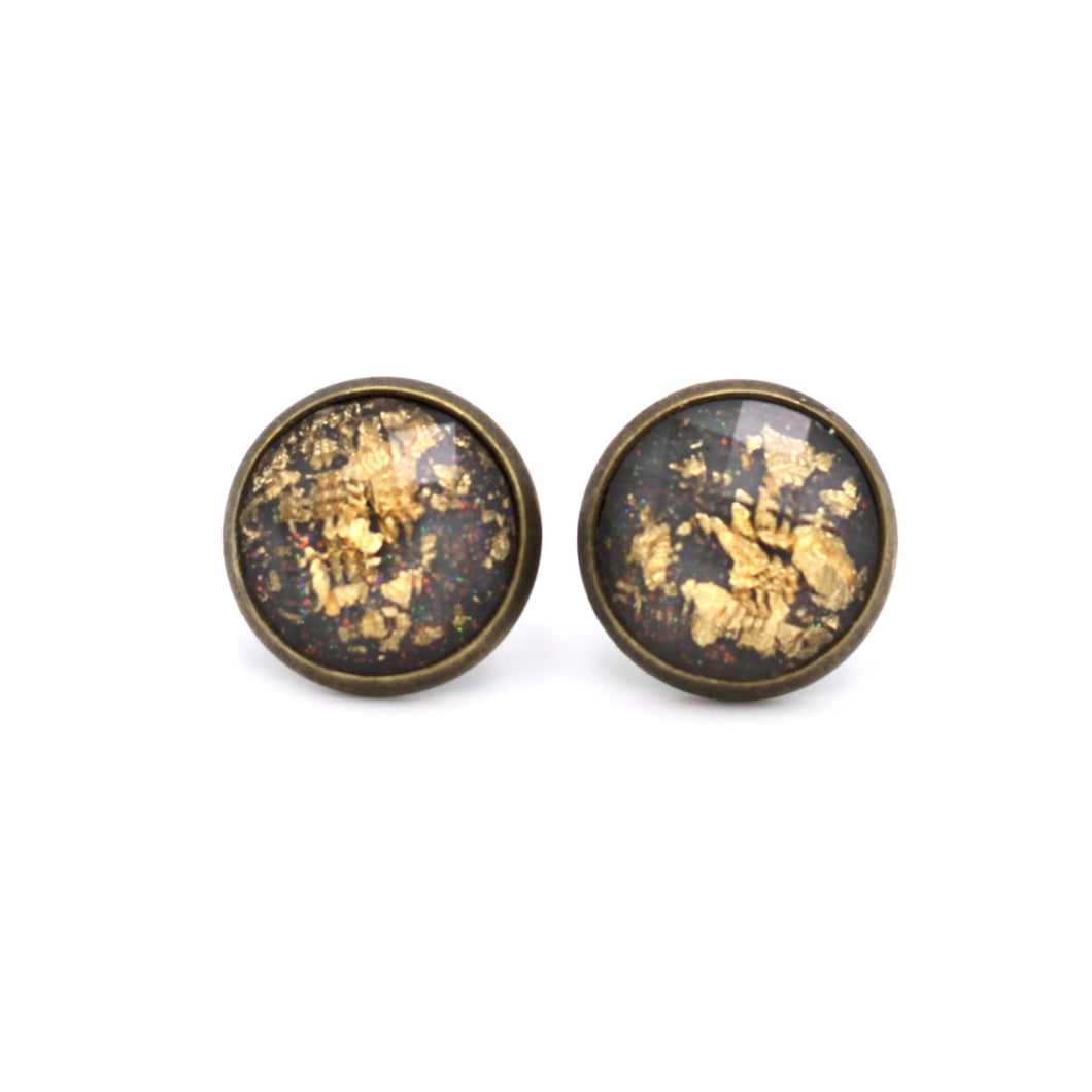 Gray with Gold Fleck Stud Earrings