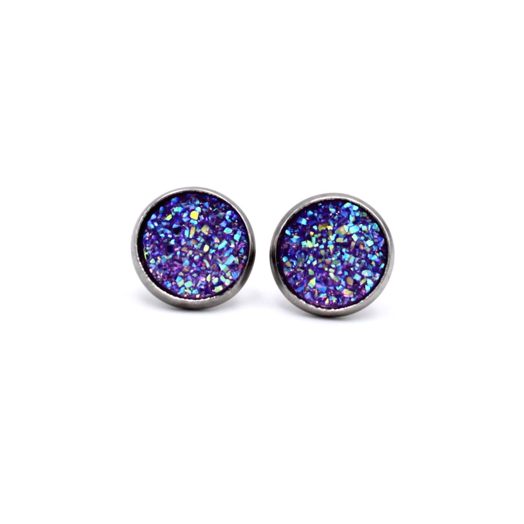 Purple Druzy Stainless Steel Stud Earrings