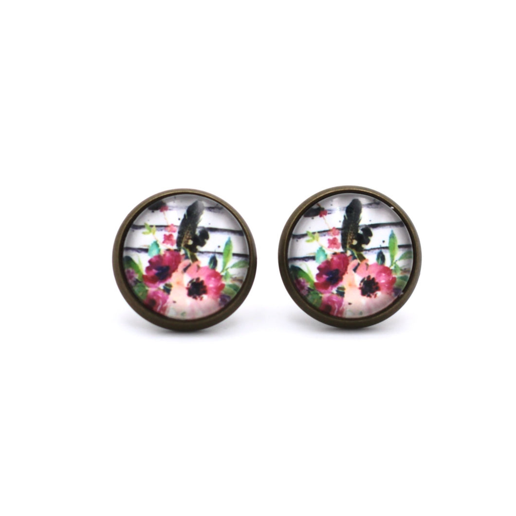 Floral Stripe Stud Earrings