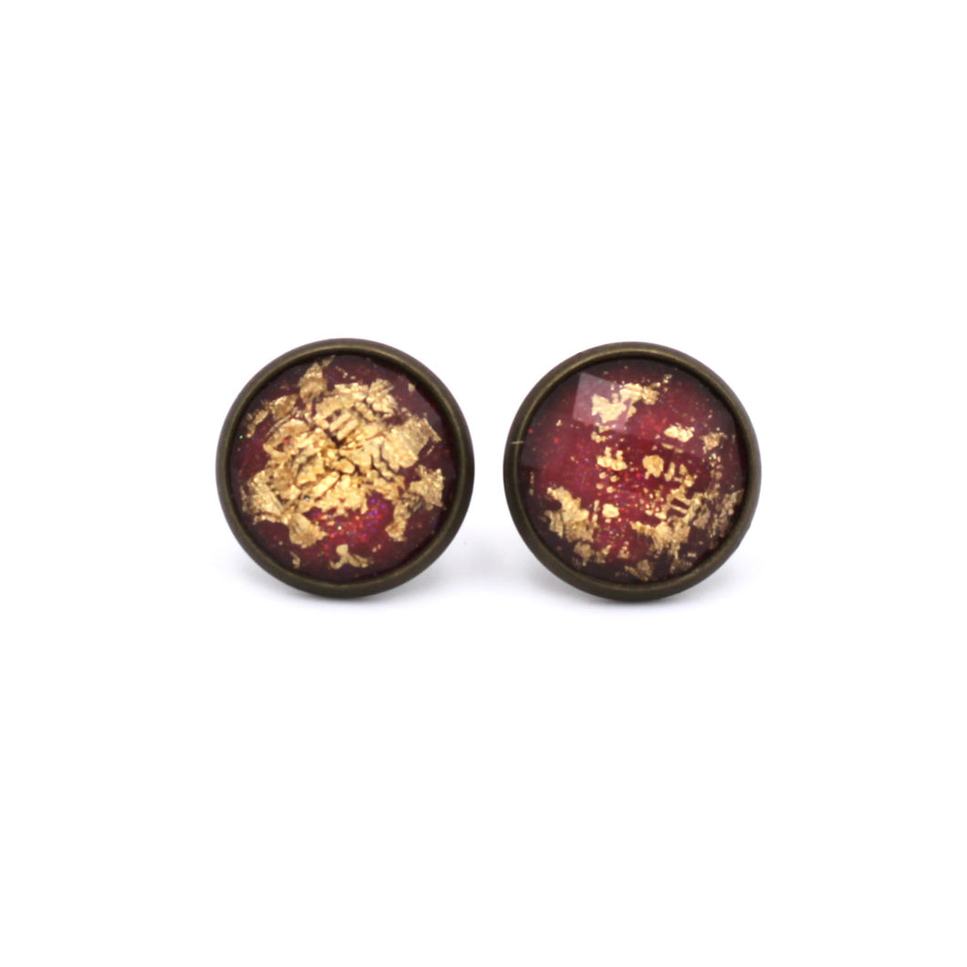 Red with Gold Fleck Stud Earrings