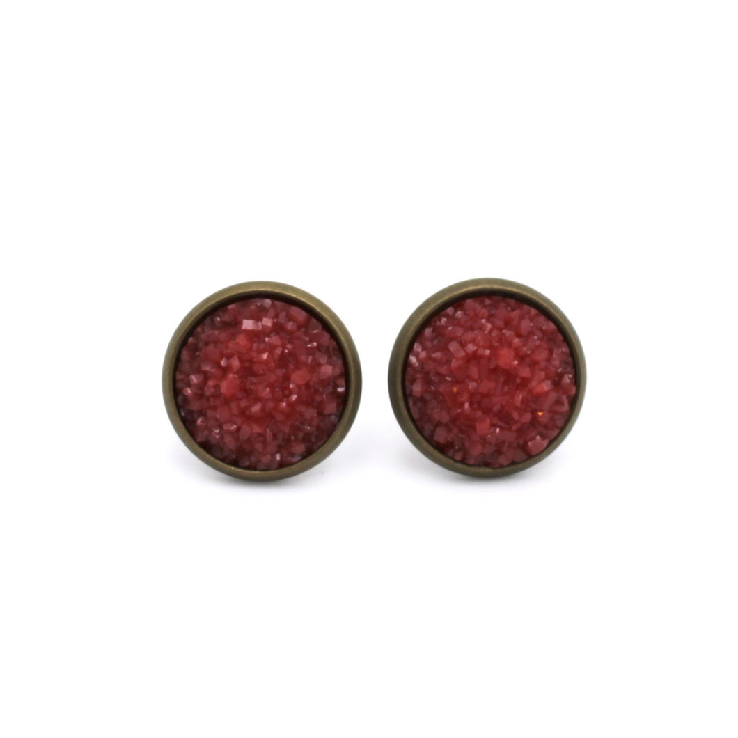 Red Druzy Stud Earrings