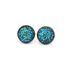 Teal Druzy Stud Earrings