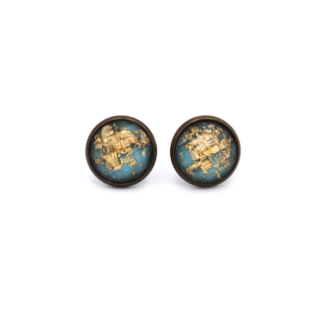 Aqua with Gold Fleck Stud Earrings