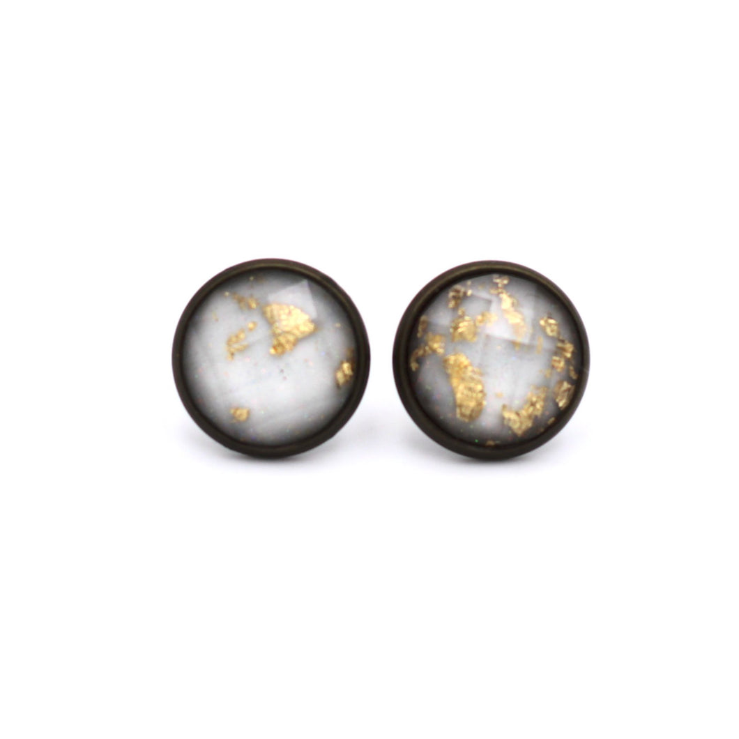 White with Gold Fleck Stud Earrings
