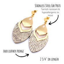 Load image into Gallery viewer, Tan Metallic Faux Leather Fringe Dangle Earrings