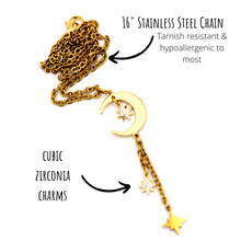 Load image into Gallery viewer, Gold Moon & 3 Stars Necklace