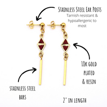 Load image into Gallery viewer, Red Triangle Bar Dangle Earrings