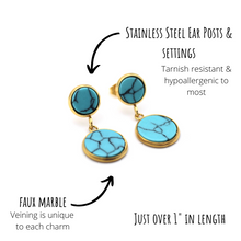 Load image into Gallery viewer, Turquoise Marble Gold Dangle Earrings